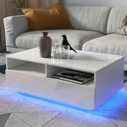 High Gloss LED Coffee Table with 4 Drawer 2 Grids Storage End Table Furniture