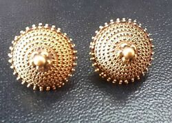 Vintage Antique Solid 22k Gold Intricate Handmade Amulet Earring Rajasthan 1800s