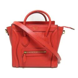 Authentic Celine Luggage Nano Shopper 2way Shoulder Bag 168243 Leather Red Used