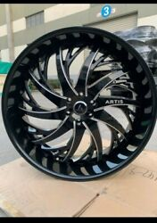 28 Inch Black And Milled Artis Decatur Wheels Rims 6x135 Ford 26