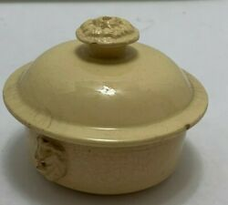 Antique French Pottery Round Terrine With Lid 3.5 Terre A Feu Uc Sarreguemines