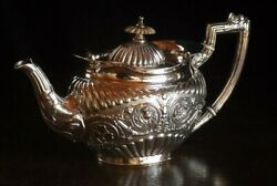 Antique 1902 Made Of Sterling Silver Design Nice Teapot With Decorations L-57