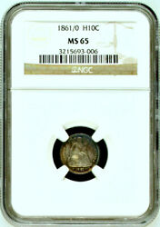 1861/0 Ngc Ms65 And0391/0and039 Overdate Seated Half Dime H10c 5c