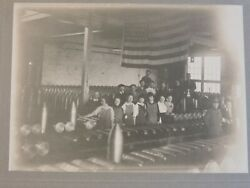 Wwi Orig 1918 Mounted Photo Female Woman Workers Missile Projectile Factory