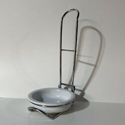 Pampered Chef Standing Upright Spoon Rest Silver Metal White Stoneware 1678