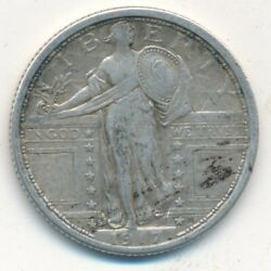 1917-s Standing Liberty Silver Quarter Type I-nice Circulated Coin-ships Free
