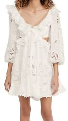 Zimmermann Lulu Scallop Frill Dress Ivory With Draped Skirt Size 0p Sold Out