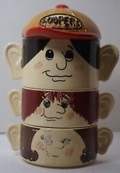 Vintage Stackable Set Of 3 Family Face Soup Bowls Soupers Made In Japan