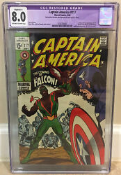 Captain America 117 Cgc 8.0 1st Appearance Of Falcon And Redwing Red Skull Modok