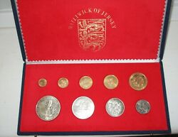 1972 Jersey Silver Wedding 9 Coin 22ct Gold And Silver Set Original Box