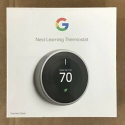 Google T3007es Nest 3rd Gen. Learning Thermostat - Stainless Steel Brand New