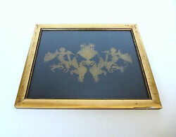 Extraordinary Picture About 1800 Brass Inlay Emblem Putto B-14258