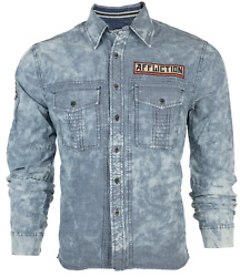 AFFLICTION Men#x27;s Long sleeve Button Down Shirt FORT STORY Denim Embroidered S 3X