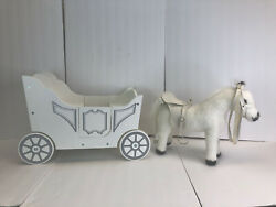Pottery Barn Kids Royal Doll Wood Carriage And Horse Pull Stroller Large Toy