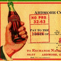 Vtg 1944 Ardmore Ok Coca Cola Bottling Company Cancelled Check To Witt Ice And Gas