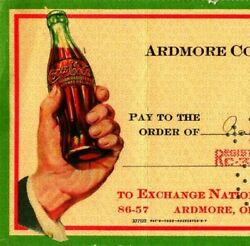 Vtg 1941 Ardmore Ok Coca Cola Bottling Co Cancelled Check To Ray's Office Supply