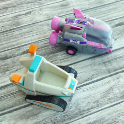 Paw Patrol Everest's Snow Plow Vehicle Skye's Rocketship Toy Spin Master 2 Lot