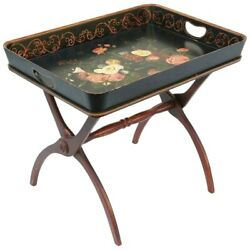 Vintage Painted Tray W Gorgeous Flowers W Folding Wood Stand