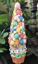 Ceramic Easter Bunny With Carrots Eggs Topiary Tree Centerpiece Decor 15