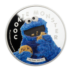 2021 Samoa 5 Cookie Monster 1oz .999 Silver Prooflike Coin With Cookie Jar