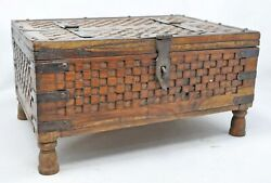 Antique Wooden Big Storage Dowry Chest Box Original Old Hand Carved