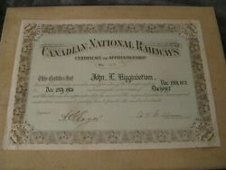 Rare 1926 Canadian National Railways Certificate Of Apprenticeship - Named