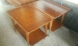 Pair Of Vintage Lane Mid Century Copenhagen Walnut And Brass Two Tier End Tables