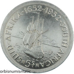 1952 South Africa 5 Shillings Cape Town Anniversary Silver Large Superb Z618