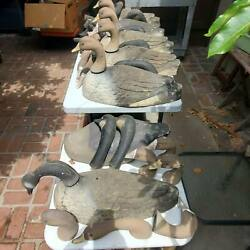 7 Vintage Goose Geese Decoy Lot With 27 Heads