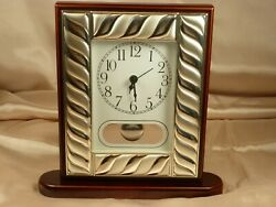 Kesufim - Silver Plated – Cherry Wood Finish Formal Table Clock