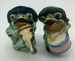 Frogs Playing Instruments Salt And Pepper Shakers Japan Vintage Farm Kitchen