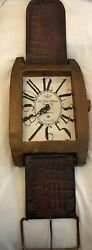 Wrist Watch Style Wall Clock Wood And Metal Vintage Look Home Decor Global