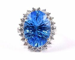 Oval London Blue Topaz And Diamond Halo Solitaire Ring 14k White Gold 15.43ct