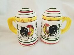 Vintage Py Usagco Japan Rooster And Roses Range Salt And Pepper Shakers