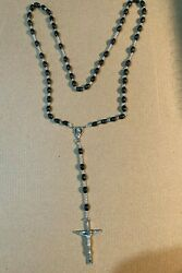 Vintage Rosary Black Beads Silver Tone Crucifix 22 1/2 Made In Italy Lot C