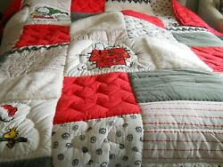 Pottery Barn Kids Teen Peanuts Snoopy Holiday Full Queen Quilt Christmas