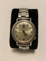 Rare Vintage Men's 1960's Day Date Bulova Accutron With Rolex Sa Old Band Rare