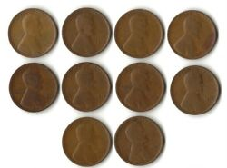 1909-1919 P-d-s Wheat Penny Lot 20 Different Dates/mint Marks