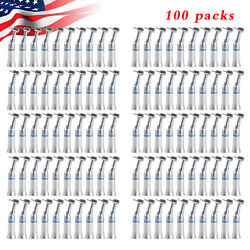 100 Dental Contra Angle Slow Low Speed Handpiece Push Button Fit Fg Burs 1.6mm