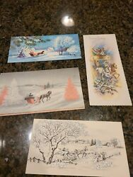 4 Vintage 1950s Glitter Mica Horse Sleigh Christmas Greeting Cards