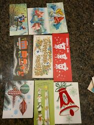 9 Vintage 1950s Glitter Mica Christmas Greeting Cards