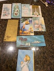 9 Vintage 1950s Glitter Mica Religious Christmas Greeting Cards