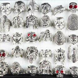 10pcs Lots Retro Punk Animal Wholesale Mixed Style Antique Silver Rings Jewelry
