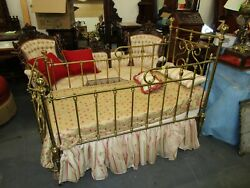 Antique Brass Baby Crib With Mattress And Bedding
