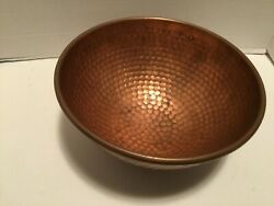 Antique Vintage Round Bottom Copper Bowl Hammered Pattern Forged Ring To Hang