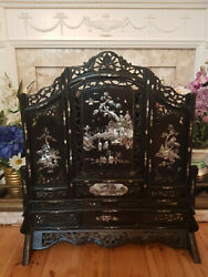 Spectacular Antique Large 3 Panel Chinese Mother Of Pearl Inlaid And Carved Screen