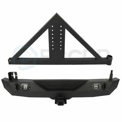 Powder Coat Rear Bumper W/ Tire Carrier And 2x Led Lights For 07-18 Jeep Wrangler