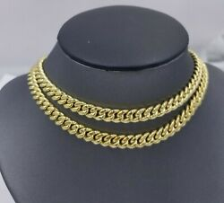 10k Real Yellow Gold Miami Cuban 7mm Chain Necklace Strong Box Lock 22 Mens