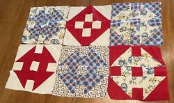 Lot Of 6 Pc Vintage Feedsack 11 Inch Squares Quilt Blocksall Hand Pieced