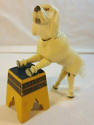 Schoenhut Humpty Dumpty Circus Poodle White Dog And Painted Pedestal Stool Antique